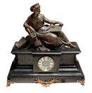 62.6431 3 Piece Marble & Bronze Figural Mantel Clock Set