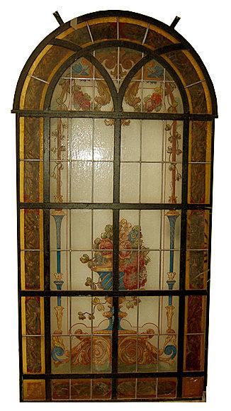 74.6582 Hand Painted & Leaded Glass Window