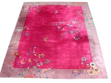 85.5216 Chinese Art Deco Rug with Butterfly & Floral Pattern.