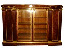 24.6610 19th C. French Empire Bookcase w/Greek Key