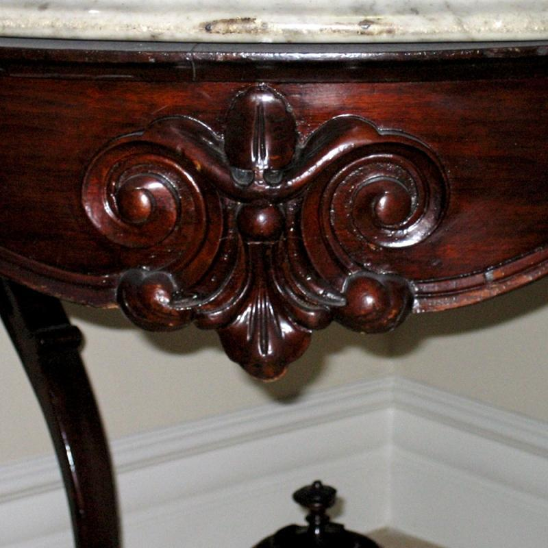 5293 Outstanding Antique Rosewood American Marble Top Center Table