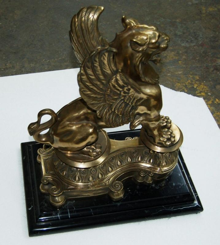4996 Antique 19th C. Bronze Griffin Chenets
