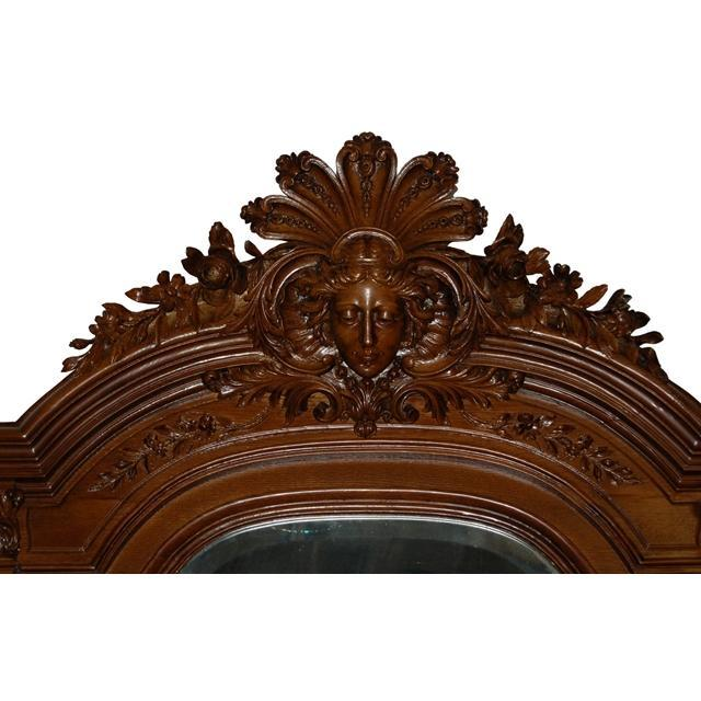 7055 French Style Carved Walnut & Marble Hall Mirror