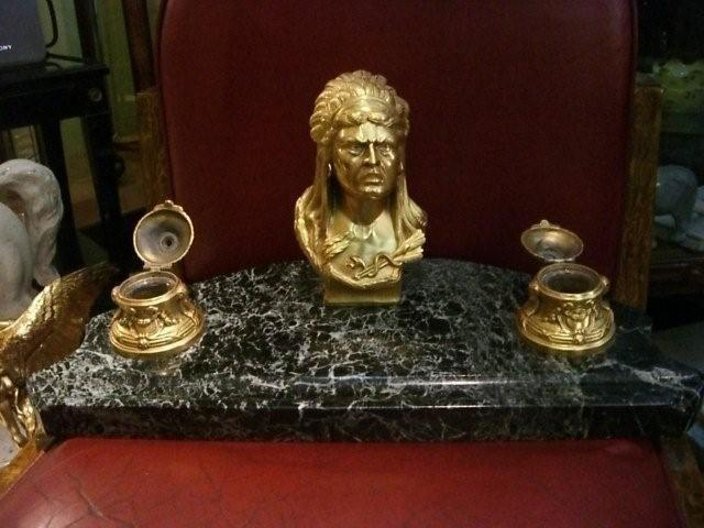 7071 Bronze Indian Head Inkwell with Marble Base