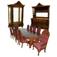 7200 American Victorian 13-piece Heavily Carved Oak Dining Suite By R.J. Horner