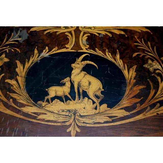 7704 German Black Forest Marquetry Table c. 1880