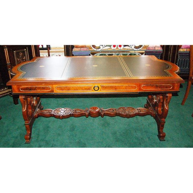 12.5803 Large Antique Walnut Victorian Writing Table Attr: Thomas Brooks