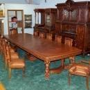 6484 19th C. 15-Piece Italian Walnut Mannerist Style Figural Carved Dining Set