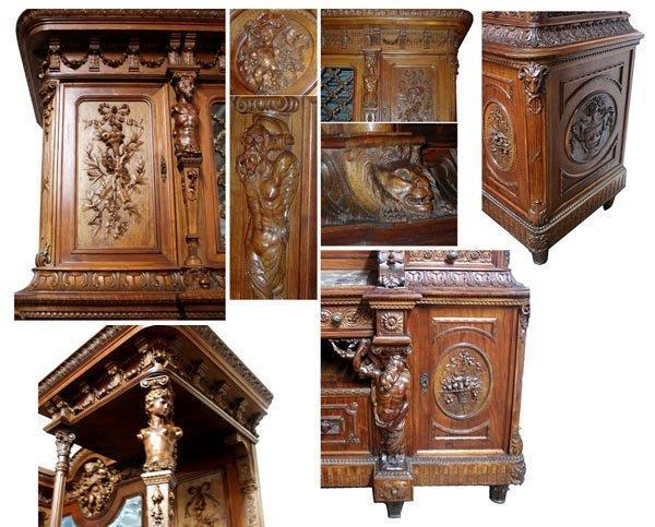 6484 19th C. 15-Piece Italian Walnut Mannerist Style Figural Carved Dining Set