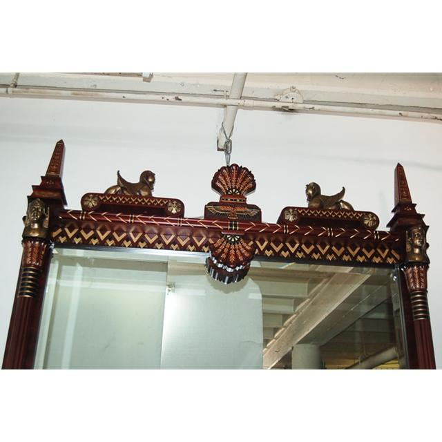 6932 Carved Egyptian Revival Over Mantel Mirror