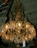 57.6678 19th C. Bronze and Crystal Chandelier