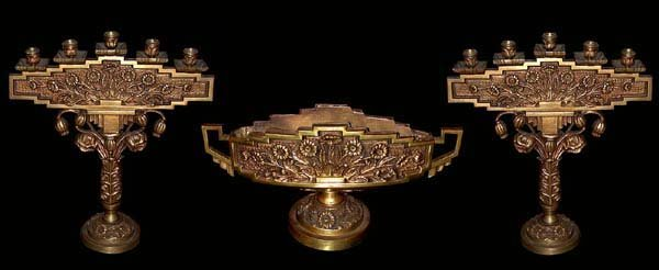 82.6147 3 Piece Bronze Candelabra Set with Center Bowl