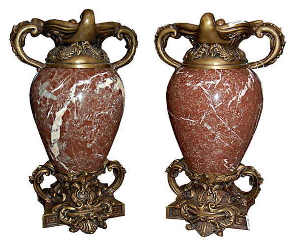 83.6636 Pair of Marble and Bronze Urns.