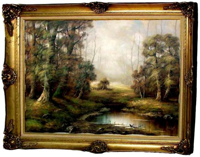 77.6743 Wonderful Early 20th C. Oil on Canvas Landscape