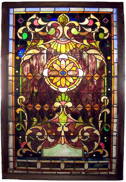 74.6762 19th C. American Stained Glass Landing Window
