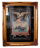77.5314 American Framed Silk Embroidery of Washington Crossing the Delaware