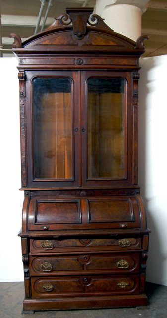 23.6787 Antique Renaissance Revival Burled Walnut Cylinder Secretary Desk