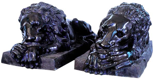 68.9181 Pair of Cast Life Size Bronze Lions.