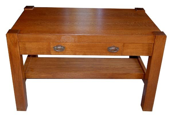 11.4847 Oak Mission Table with Center Drawer c. 1910