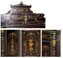 28.1397 American Victorian Cabinet w/Highly Detailed Inlay & Bronze Capitals