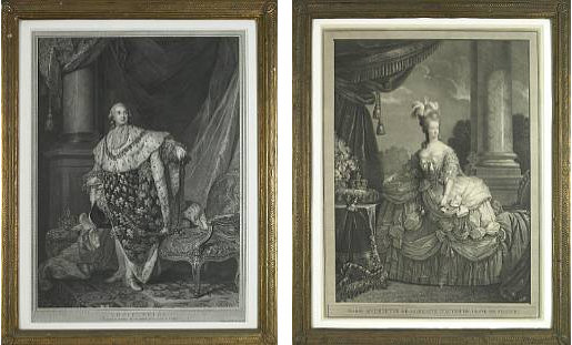 6943 Pair Intricately Detailed Portraits of Louis XVI and Marie Antoinette