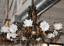 7014 Pair of Figural Gas Bronze Chandeliers
