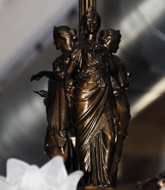 7014 Pair of Figural Gas Bronze Chandeliers