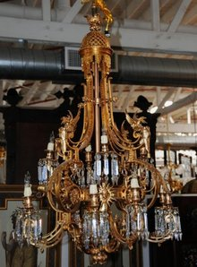 6997 Gilt Bronze Griffin Chandelier