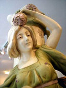 6998 Large Art Nouveau Lady Urn