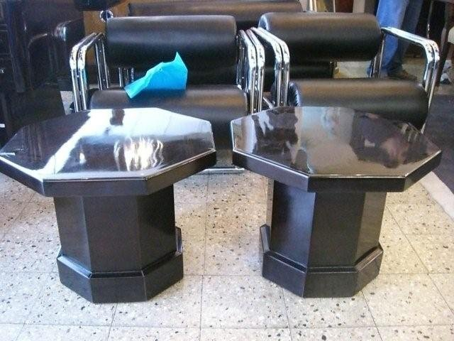 7019 Pair of Black Octaganal Side Tables