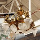 7030 Empire Gilt Chandelier with Winged Lady Sphinxes