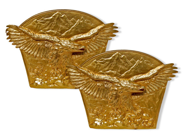 82.7039 Pair of Antique Gilt Bronze Eagle Bookends