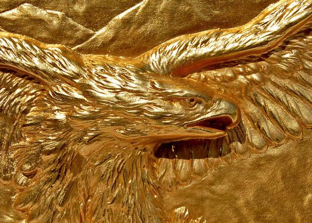 82.7039 Pair of Antique Gilt Bronze Eagle Bookends