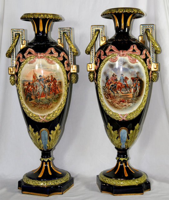 81.7085 Pair of Signed Napoleon Majolica Vases