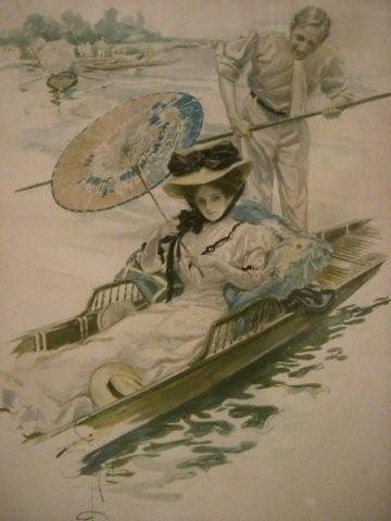 7048 Antique Print of Woman on Gondola