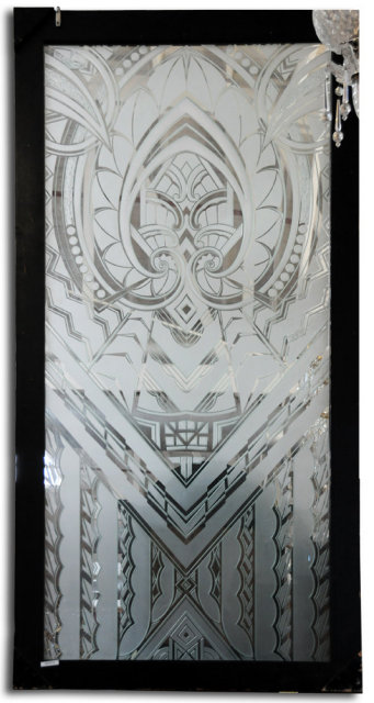 6973 Art Deco Etched Glass Window c. 1920