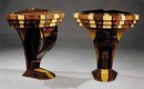 20.7154 Pair of Art Deco Laminated Exotic Woods Demilune Consoles
