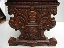 7166 Carved Library Table with Parquetry Top