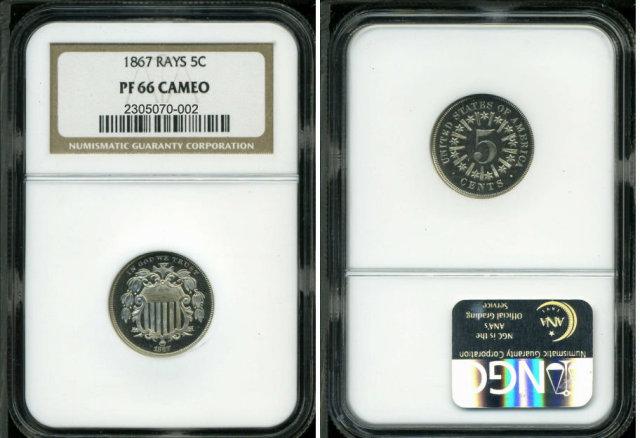 C0091 Proof Shield Nickel, 1867 NGC 5C PR66 Cameo with Rays