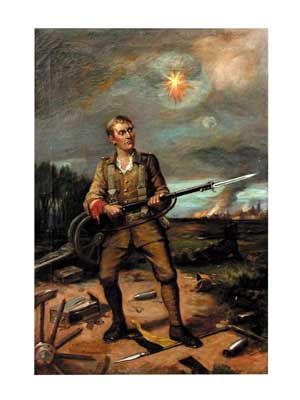 "77.4425 ""Soldier at Battle"" 19th century oil on canvas"
