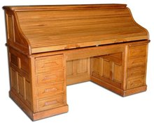 06.1638 19th C. American Oak Rolltop Desk