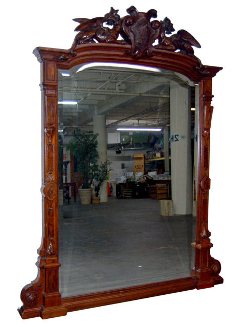 33.7196 Antique Renaissance Revival Carved Mahogany & Burl Walnut Mirror