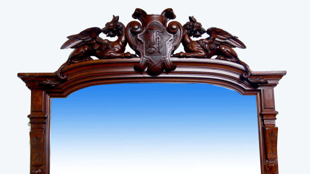 33.7196 Antique Renaissance Revival Carved Mahogany & Burl Walnut Mirror