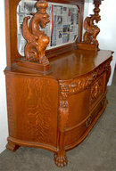 23.7201 Antique American Victorian Oak Sideboard