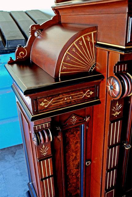 28.2697 Antique Rosewood Renaissance Revival Marquetry Cabinet