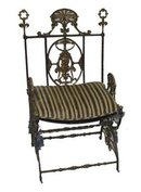 33.7208 19th C. Iron & Bronze Chair by Oscar Bach