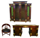 06.7207 Magnificent Antique 3-Piece French Empire Office Ensemble
