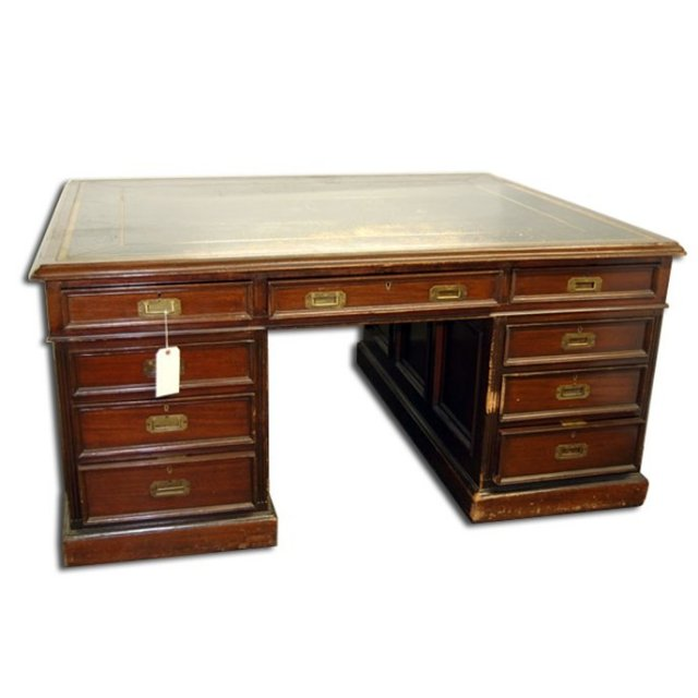 7175 Antique English Partners Desk with Black Leather Top