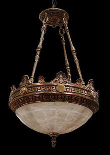 57.2456 The Justice Chandelier: Bronze & Alabaster