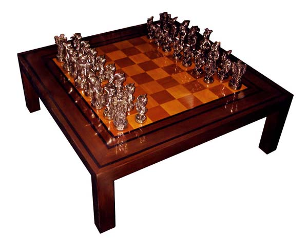 82.2654 4' Square Game Table with Hand Sculpted Solid Bronze Chess Pieces Signed Dunn